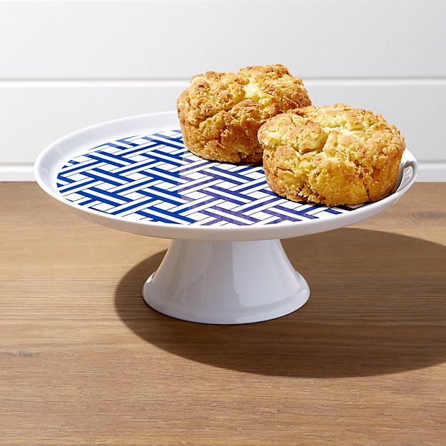 Indigo Basketweave Cake Stand - Image 1 of 3