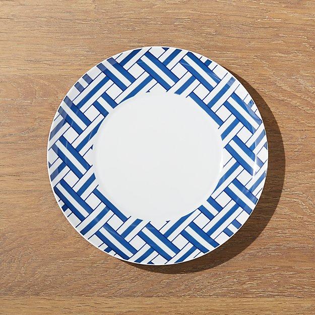 Indigo Basketweave Dessert Plate - Image 1 of 3