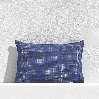 "Indigo Pixel 20""x13"" Outdoor Pillow"
