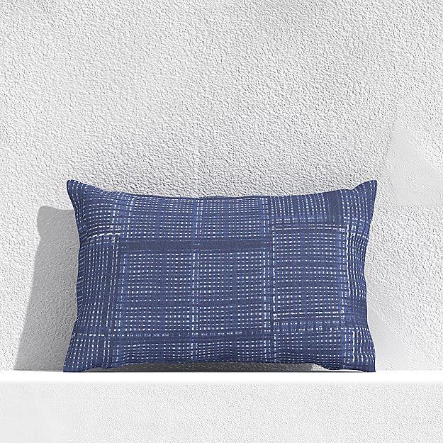 "Indigo Pixel 20""x13"" Outdoor Pillow - Image 1 of 3"