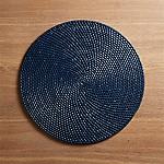 Artesia Indigo Blue Rattan Round Placemat