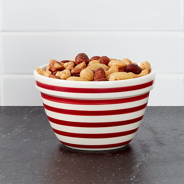 Red and White Stripe Individual Bowl