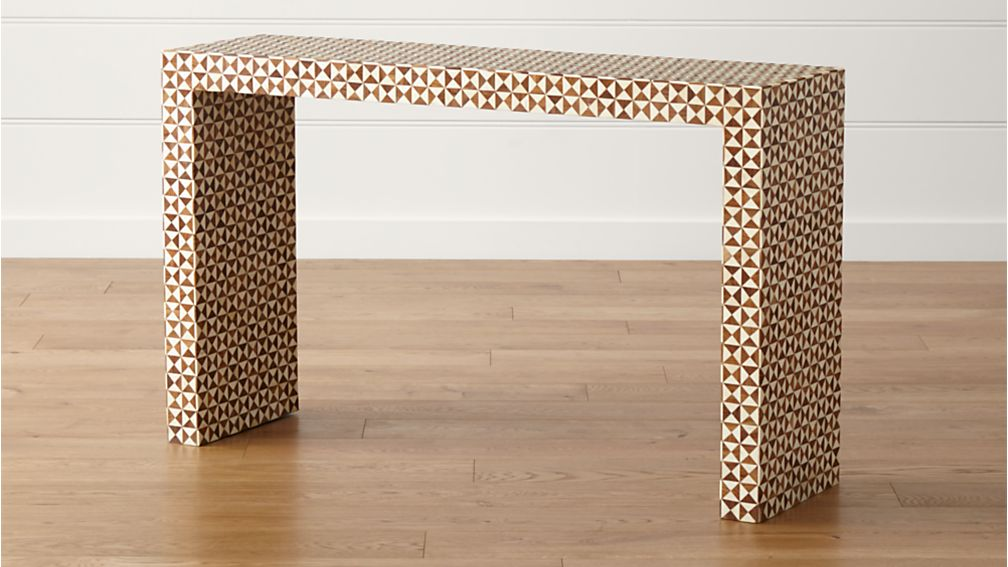 Intarsia Natural Console Table Reviews Crate And Barrel