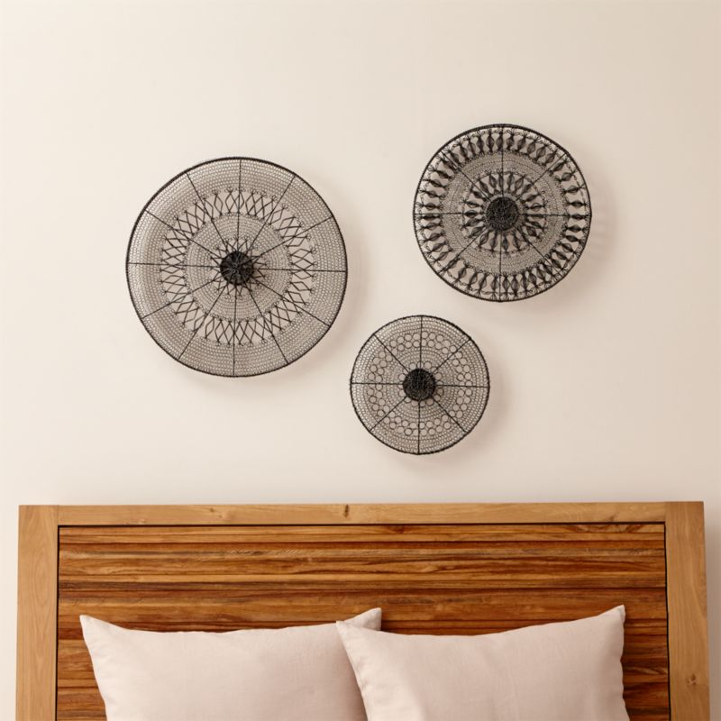 Metal Circle Wall Decor intricate circle metal wall art 3-piece set | crate and barrel
