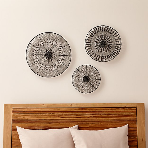 Circle Wall Art intricate circle metal wall art 3-piece set | crate and barrel