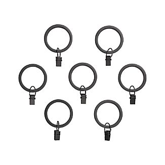 Set of 7 Black Curtain Rings