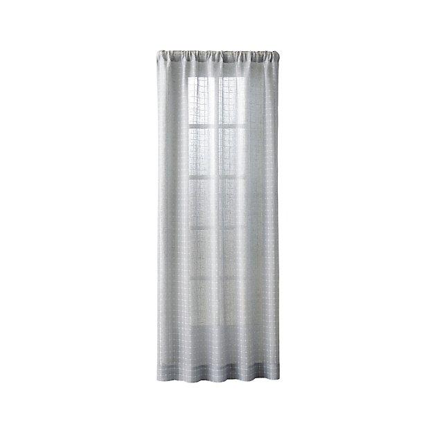"""Isabela Grey Grid Curtain Panel 50""""x96"""" - Image 1 of 7"""