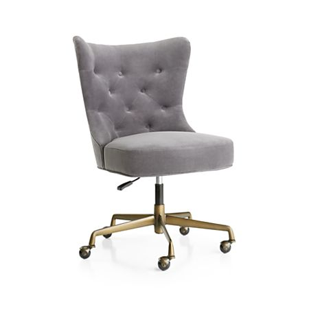 Isla Grey Velvet Office Chair