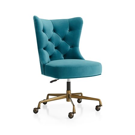 Stupendous Isla Teal Velvet Office Chair Gmtry Best Dining Table And Chair Ideas Images Gmtryco