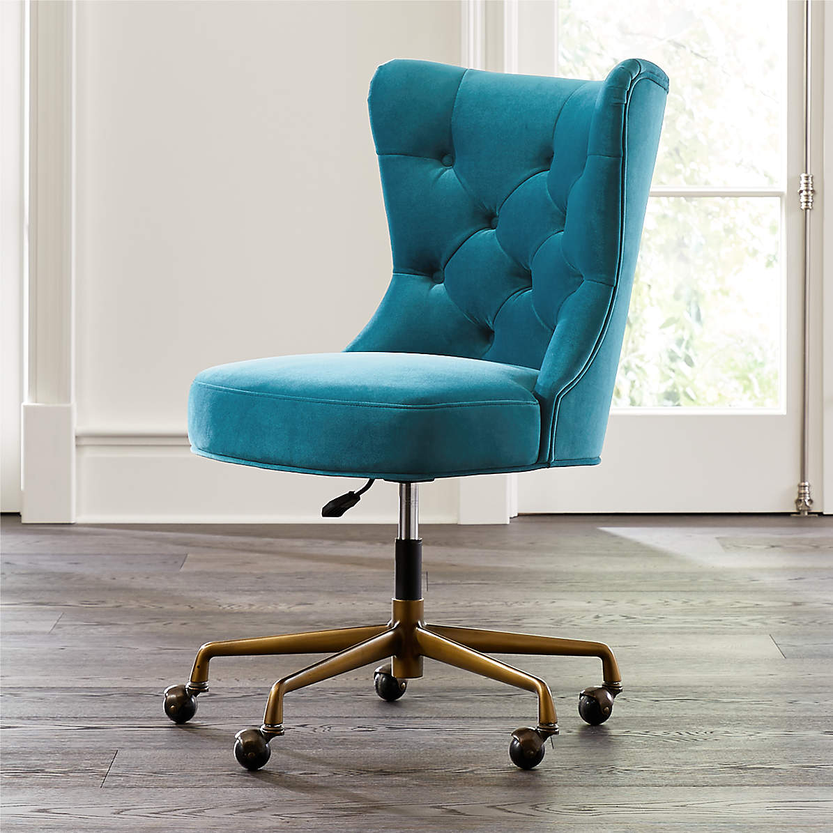 Isla Teal Velvet Office Chair Reviews Crate And Barrel