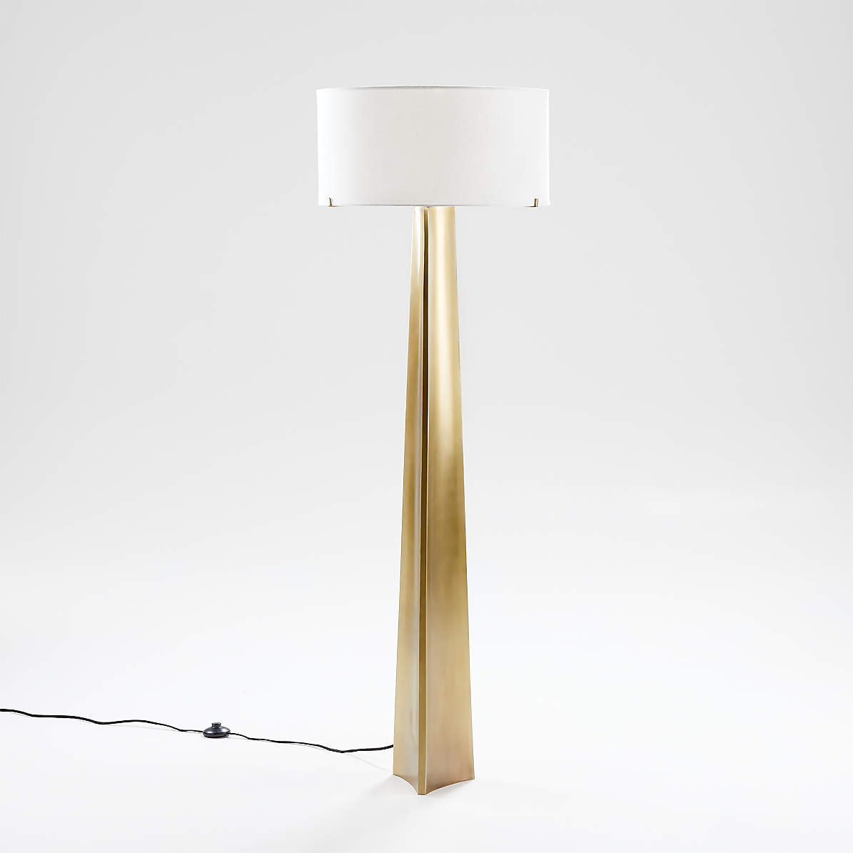 Isla Brass Triangle Floor Lamp Reviews Crate And Barrel