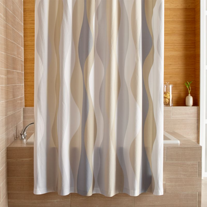 terry cloth shower curtain. Italian Seersucker Neutral Shower Curtain Fabric Curtains  Crate and Barrel