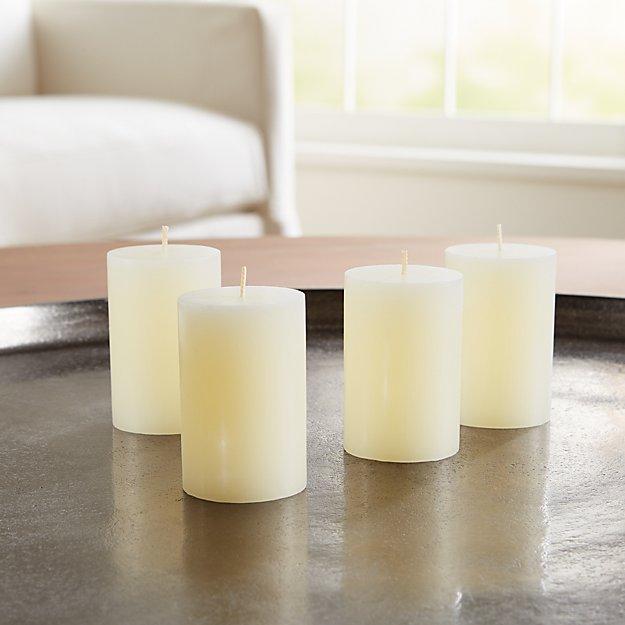 "2""x3"" Ivory Pillar Candles, Set of 4 - Image 1 of 4"