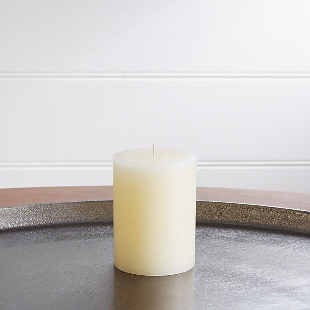 "3""x4"" Ivory Pillar Candle - Image 1 of 6"