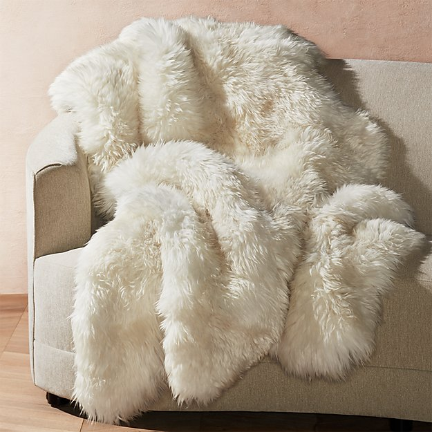 "Ivory Sheepskin Throw 64""x70"" - Image 1 of 6"