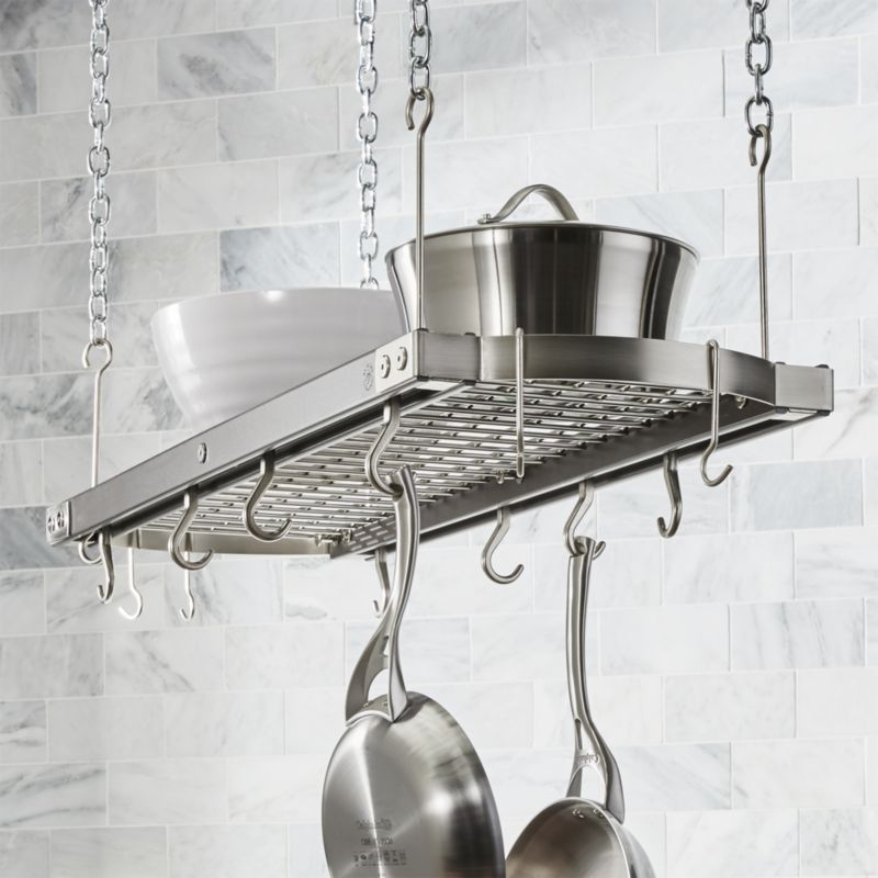 J k adams large grey ceiling pot rack in pot racks for Pot racks for kitchen