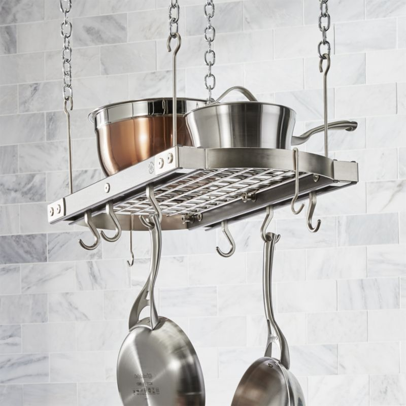 J K Adams Small Grey Ceiling Pot Rack