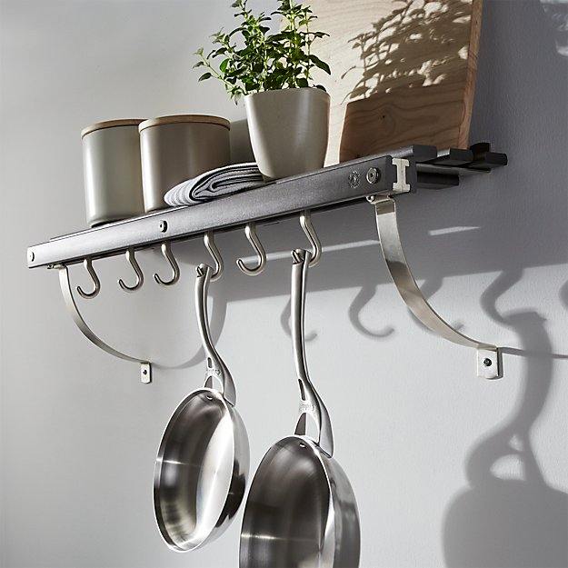 JK Adams Grey Wall Mounted Pot Rack Crate and Barrel