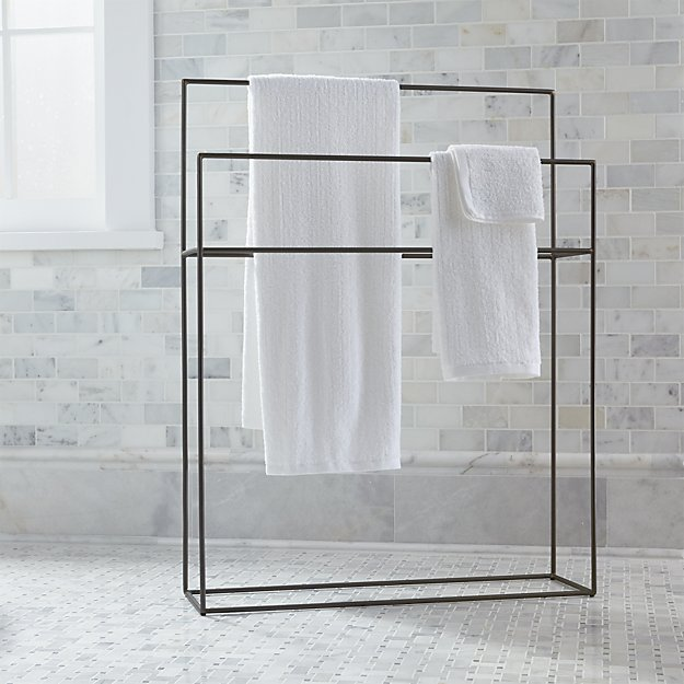 Jackson Gunmetal Standing Towel Rack + Reviews | Crate and Barrel
