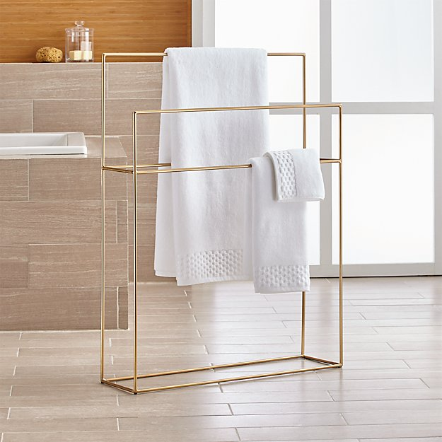 Jackson Brushed Gold Standing Towel Rack + Reviews | Crate and Barrel