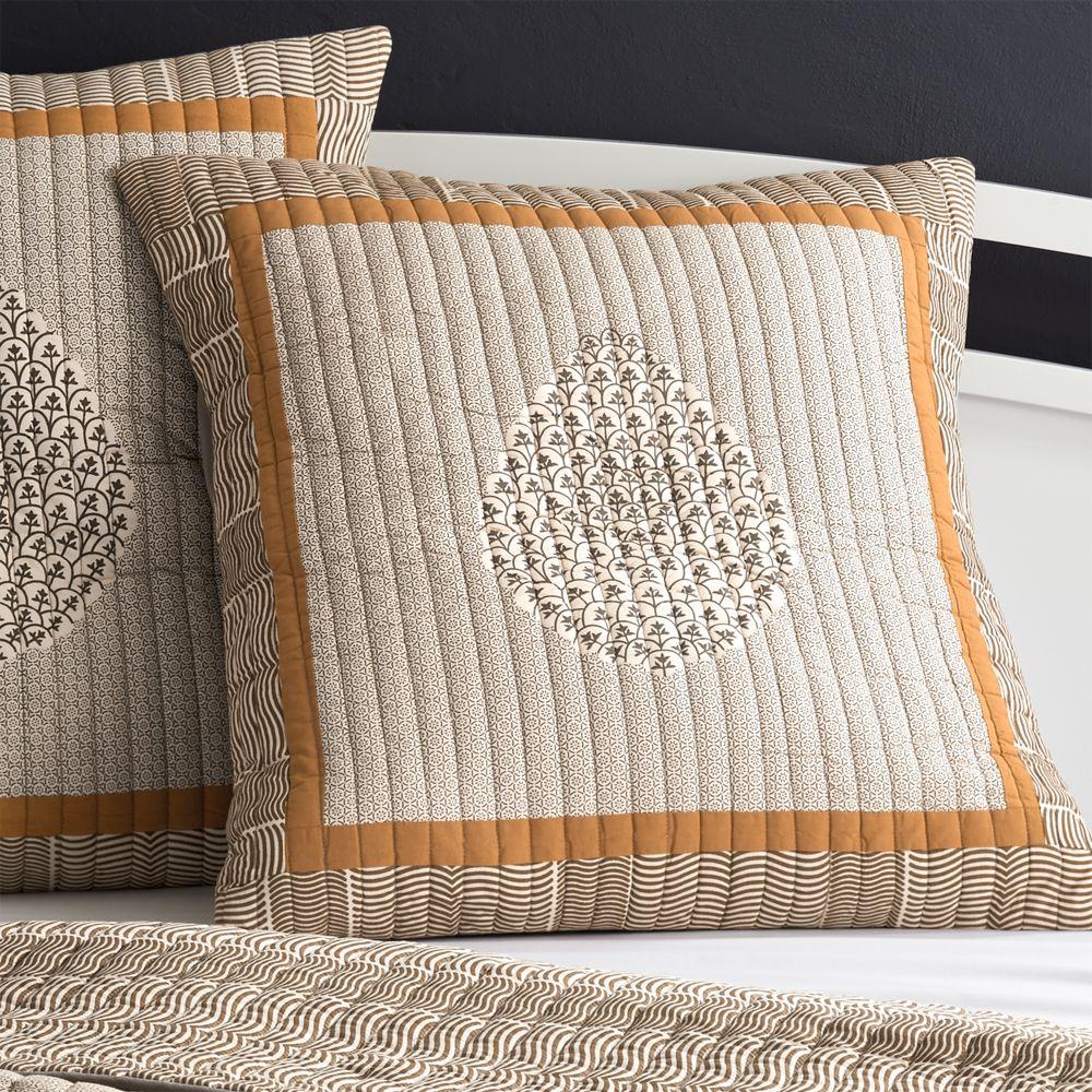 Jaipur Orange Euro Pillow Sham - Crate and Barrel