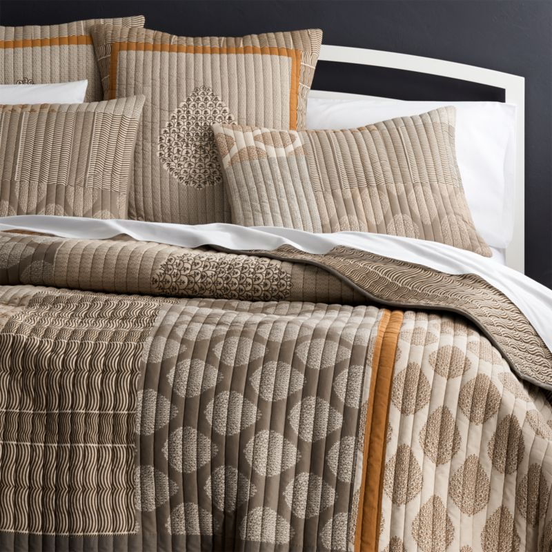 jaipur orange quilt and pillow shams - Twin Quilts