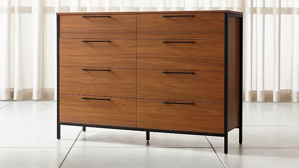 James Walnut with Black Frame 8-Drawer Dresser with Power Outlet - Image 1 of 6