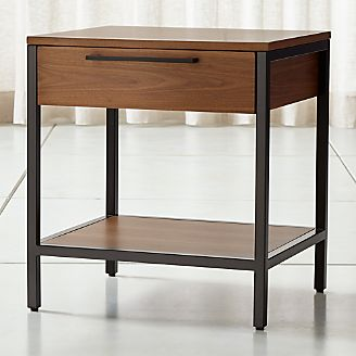 James Walnut With Black Frame Nightstand