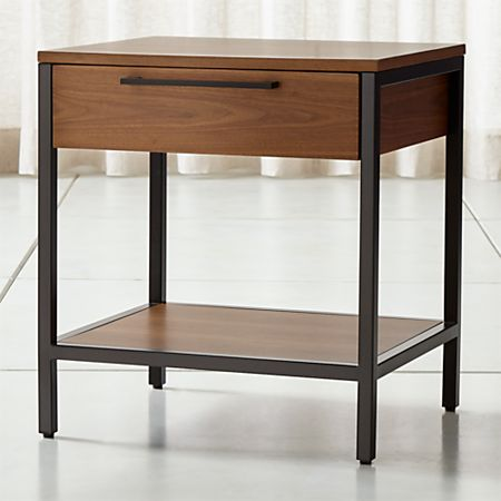 uk availability 68c09 f5ccd James Walnut with Black Frame Nightstand