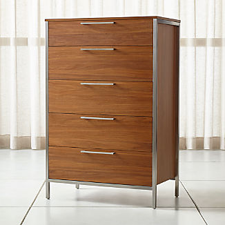 James Walnut With Stainless Steel Frame 5 Drawer Chest