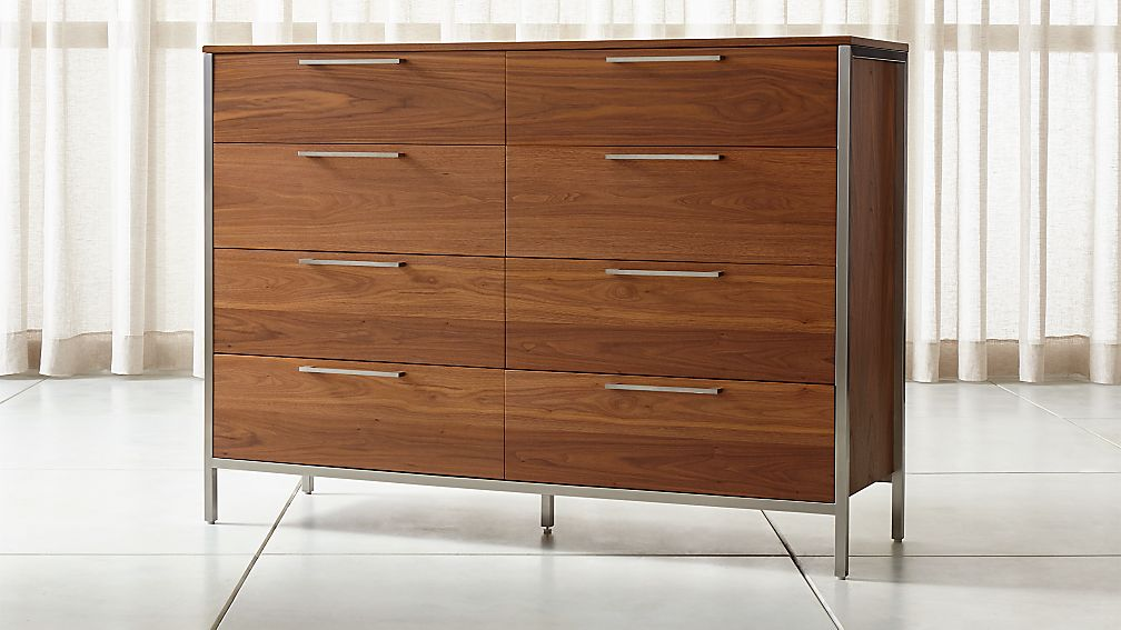 James Walnut With Stainless Steel Frame 8 Drawer Dresser With Power