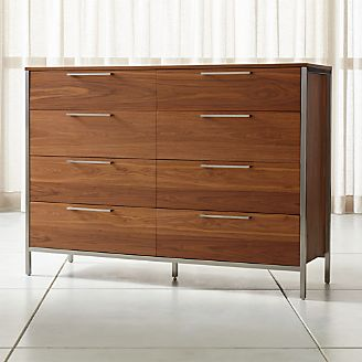 James Walnut with Stainless Steel Frame Eight-Drawer Dresser with Power  Outlet