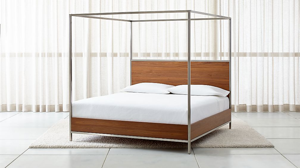 James Walnut With Stainless Steel Frame King Canopy Bed Reviews Crate And Barrel