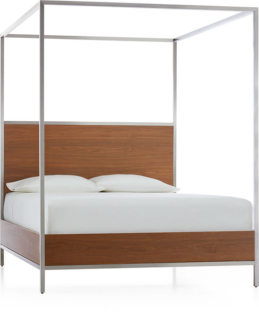 2d44b0046266 James Walnut with Stainless Steel Frame Queen Canopy Bed