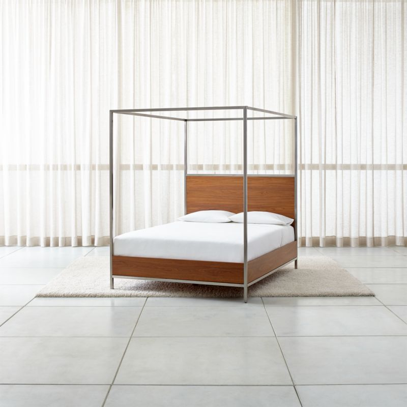 James Walnut with Stainless Steel Frame Canopy Bed & Beds: Headboards and Bed Frames | Crate and Barrel