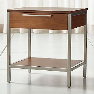 newjames walnut with stainless steel frame nightstand add to favorites - Contemporary Nightstands