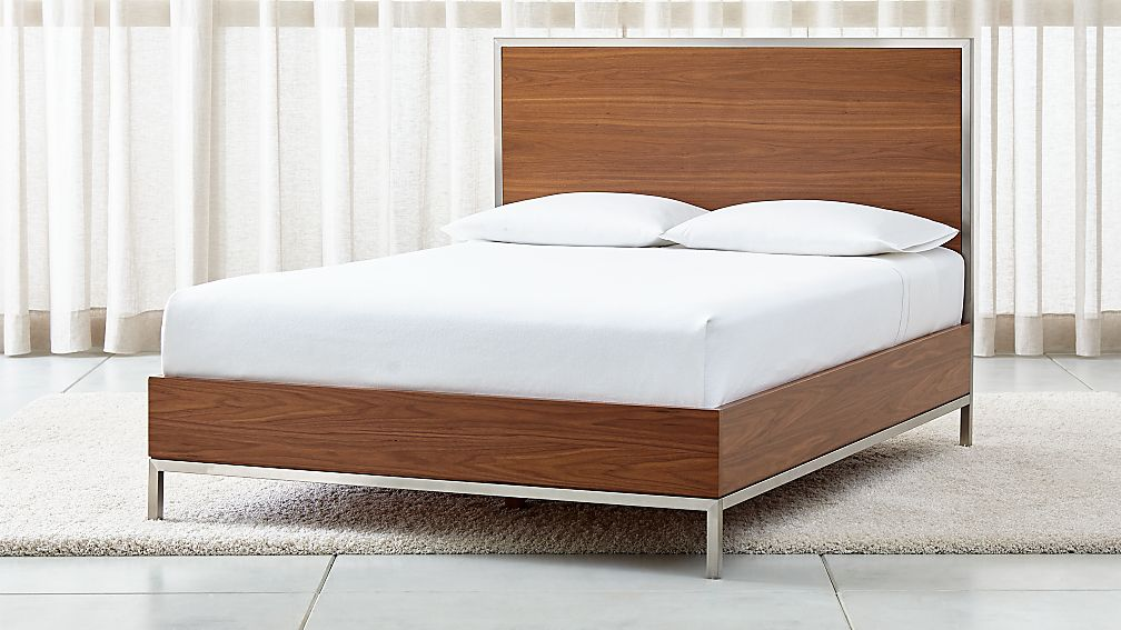 James Walnut with Stainless Steel Frame Queen Bed - Image 1 of 5