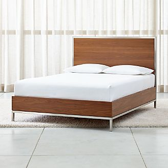 James Walnut with Stainless Steel Frame Bed
