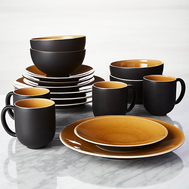 & Jars Tourron Amber 16-Piece Dinnerware Set + Reviews | Crate and Barrel
