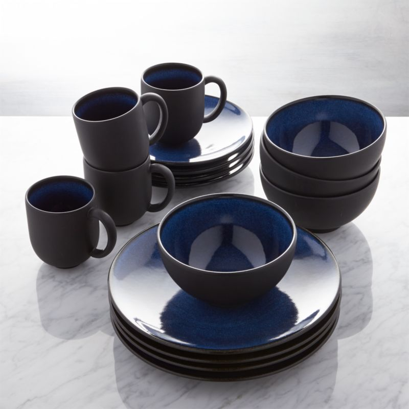 Jars Tourron Blue 16 Piece Dinnerware Set Reviews Crate And Barrel