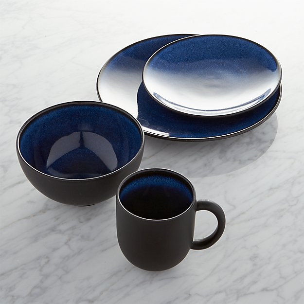 Jars Tourron Blue 4 Piece Place Setting Crate And Barrel