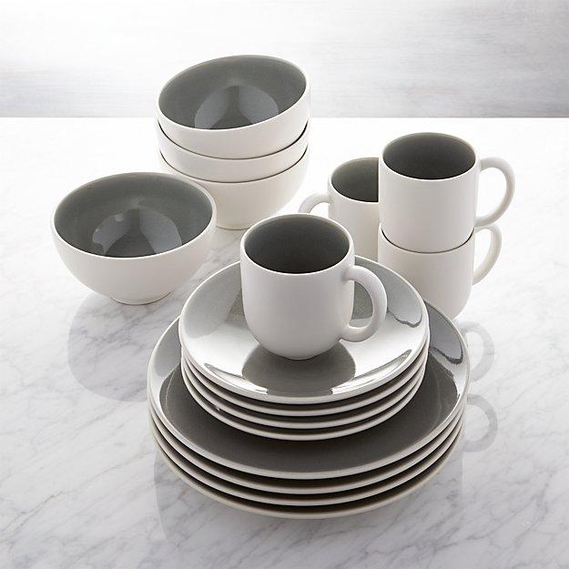 Jars Tourron Grey 16-Piece Dinnerware Set
