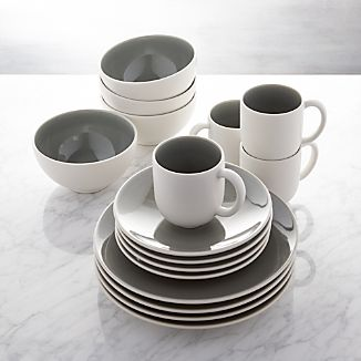Jars Tourron Grey 16-Piece Dinnerware Set & Stoneware Dinnerware | Crate and Barrel