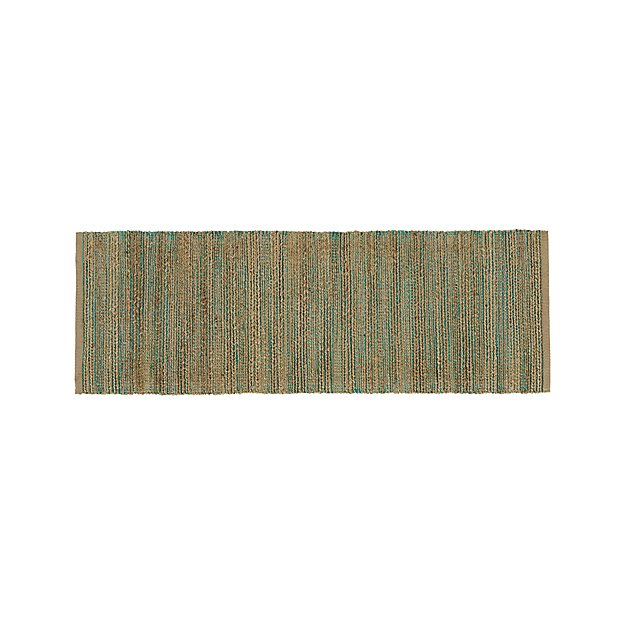 Jarvis Teal Blue Jute-Blend 2.5'x7' Rug Runner