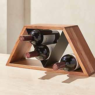 Jasper Mixed-Material 9-Bottle Wine Rack