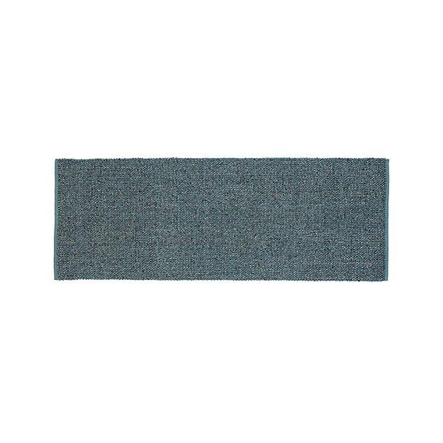 Jasper Teal Wool-Blend 2.5'x7' Rug Runner