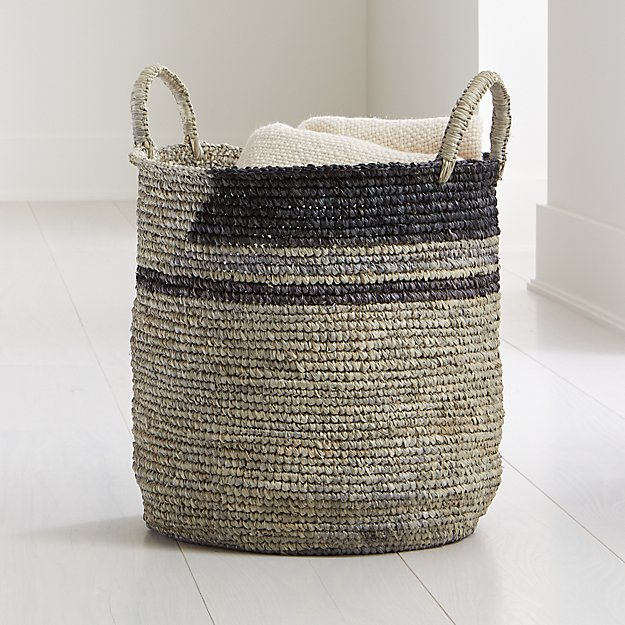 Jaylin Blue Grey Round Sisal Basket - Image 1 of 4