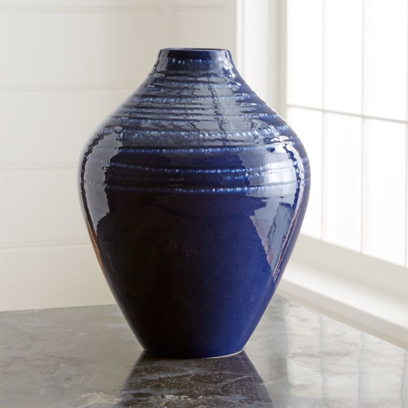 Jelena Indigo Blue Ceramic Vase Reviews Crate And Barrel