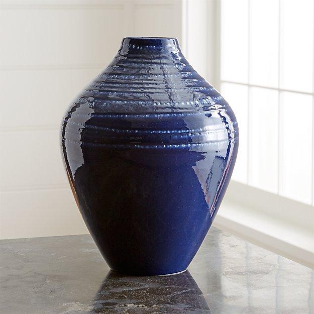 Jelena Indigo Blue Ceramic Vase Reviews Crate And Barrel