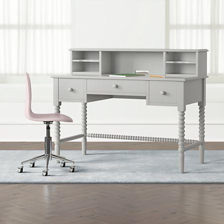 Kids Jenny Lind Grey Spindle Desk And Hutch